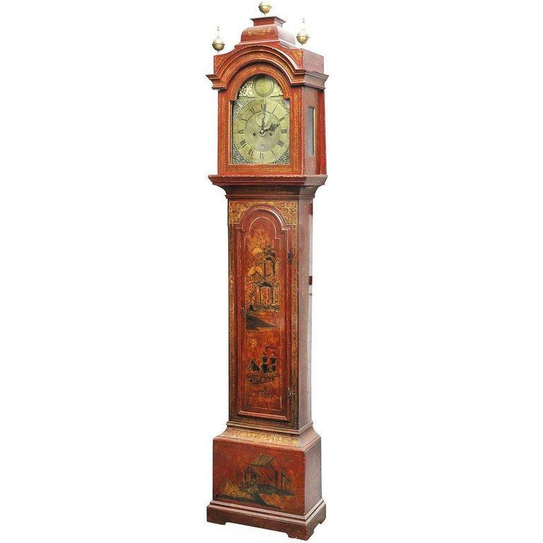 A Late 19th Century English Red Lacquered and Brass Chinoiserie Long Case Clock