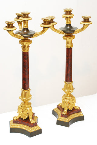 A Pair of Gilt Bronze and Marble Candelabras