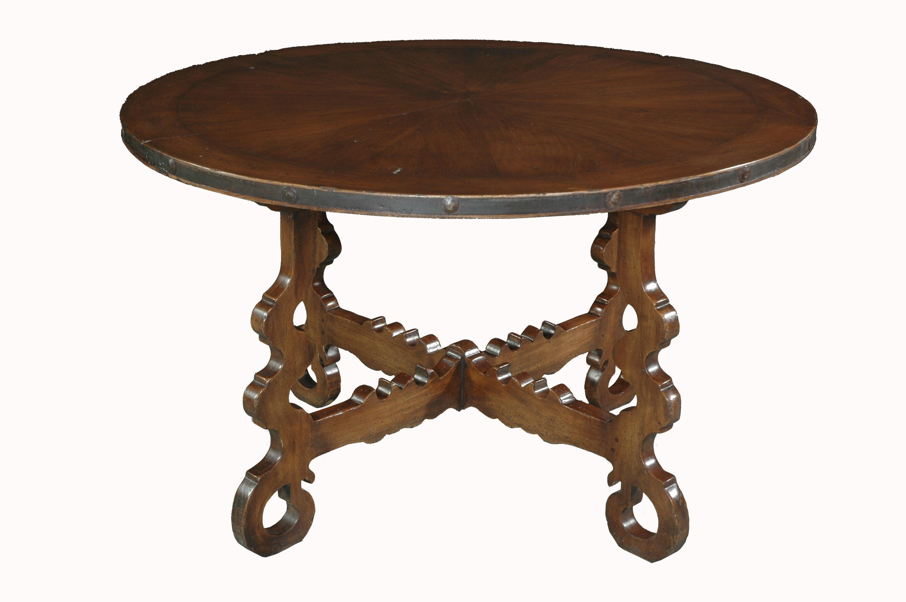 A Spanish Style Occasional Table with Iron Surround
