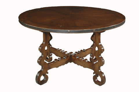 Spanish Style Occasional Table with Iron Surround