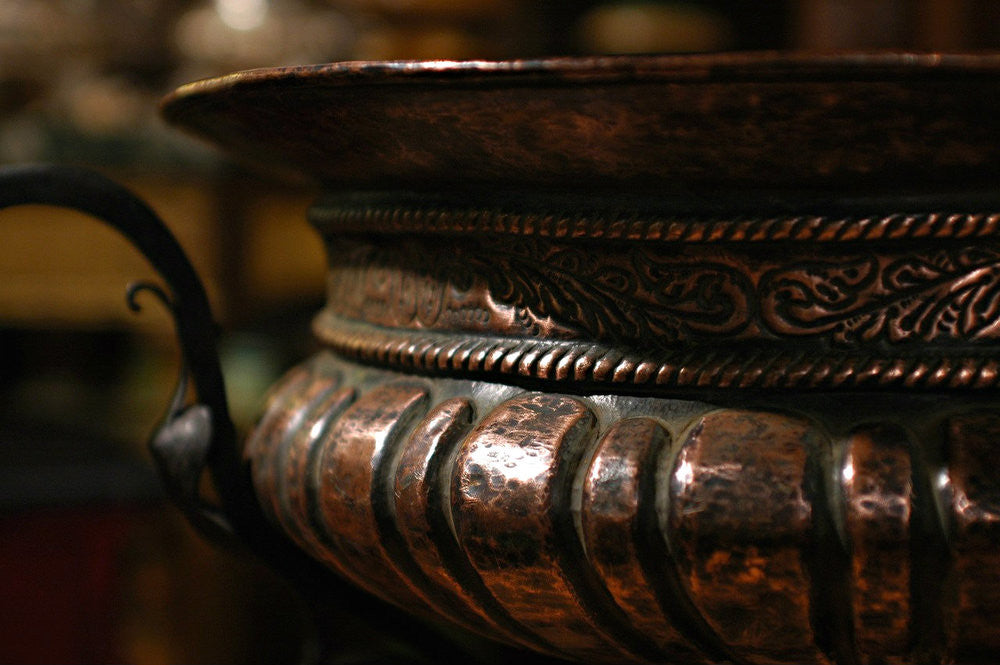 A 19th Century Spanish Wrought Iron and Copper Jardiniere