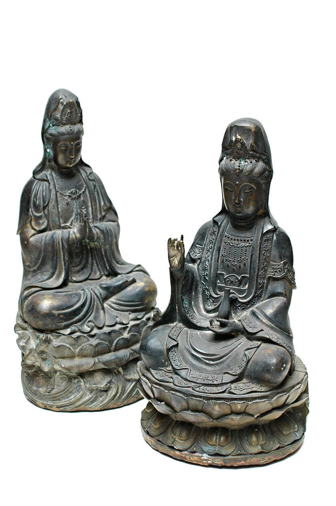 Two Bronze Figures of Guanyins, 19th Century
