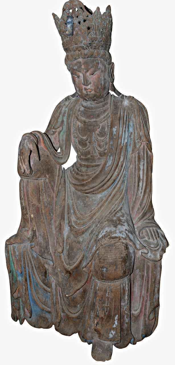 A Chinese Carved Wooden Figure of Bodhisattva Guanyin, Ming Dynasty (1368-1644)