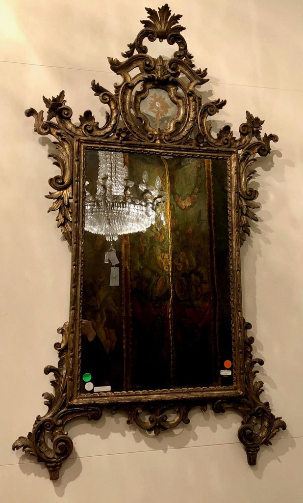 A Pair of Italian Late 18th Century Rococo Giltwood Mirrors