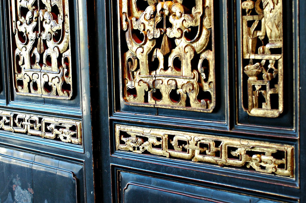 A Pair of 19th Century Chinese Black Lacquered and Gilt Doors