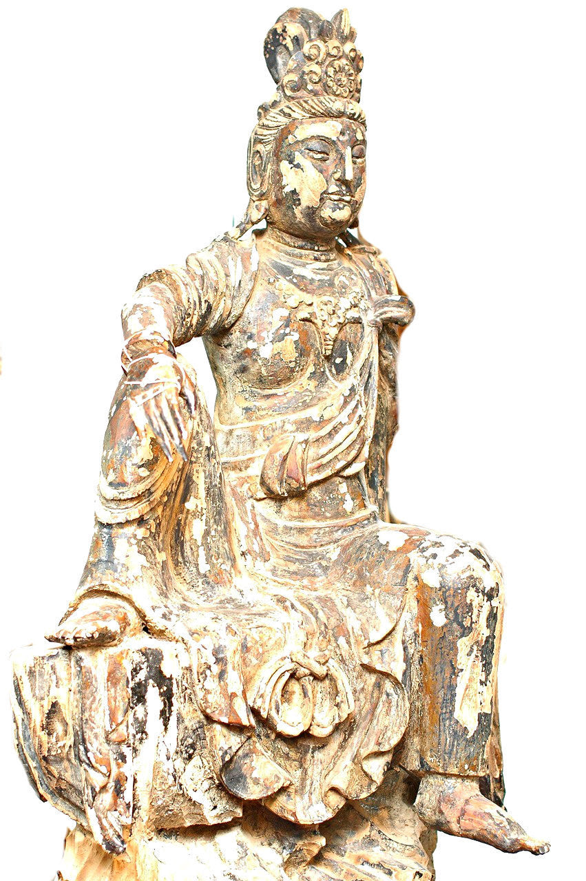 A Chinese Carved Wood Figure of Guanyin, Late Ming Dynasty