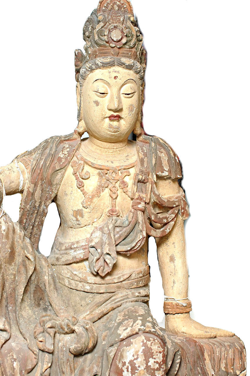 A Chinese Carved Wood Figure of Guanyin  Shanxi Province, early 14th century, probably Yuan to Ming dynasty