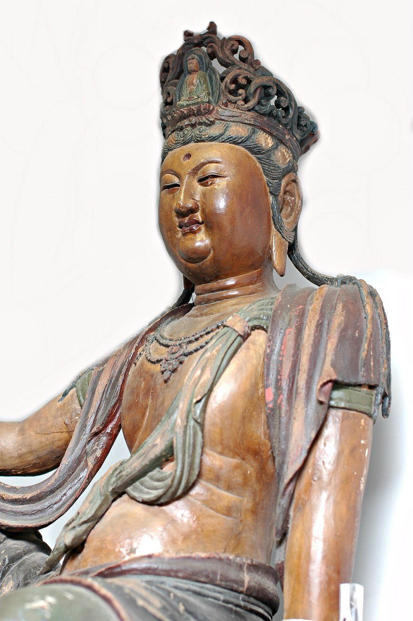 A Carved Wooden Figure of Guanyin, Late Ming/Early Qing Period