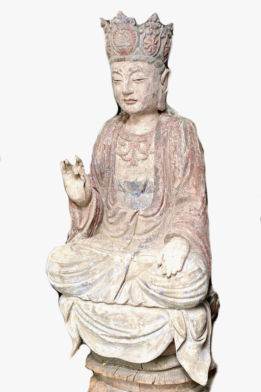 A Chinese Carved Wood Figure of a Guanyin, Ming Dynasty (1368 - 1644)