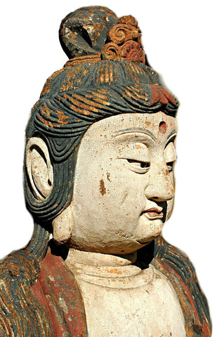 A Chinese Carved Wood Figure of a Bodhisattva, Late Ming Dynasty