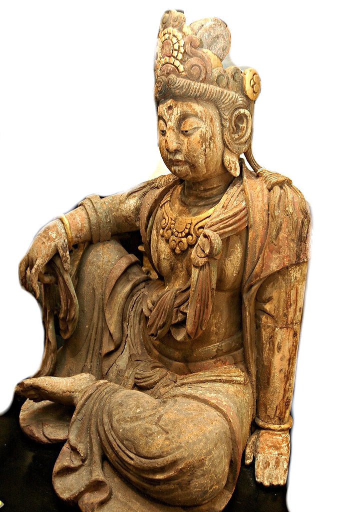 A Chinese Carved Wood Figure of Guanyin, Ming Dynasty (1368 - 1644)
