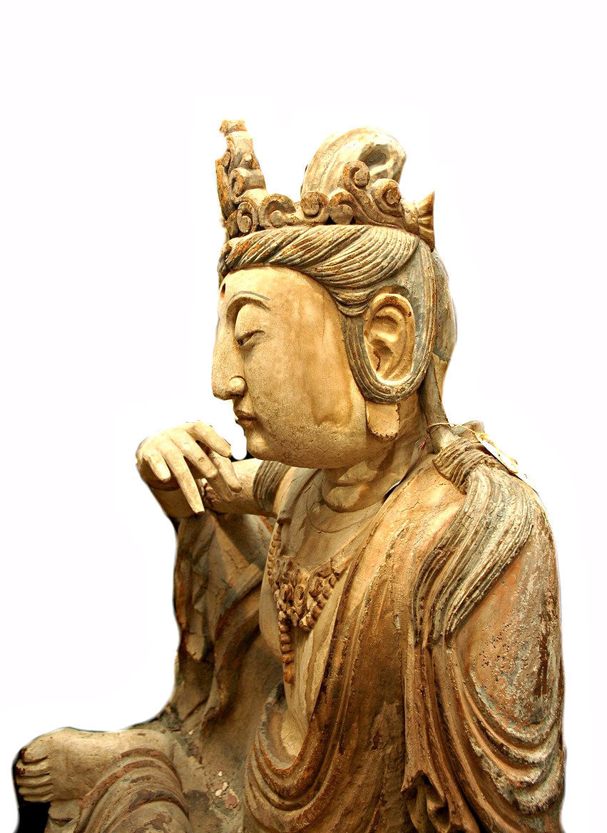 A Chinese Carved Wood Figure of a Guanyin , Ming Dynasty (1368-1644)