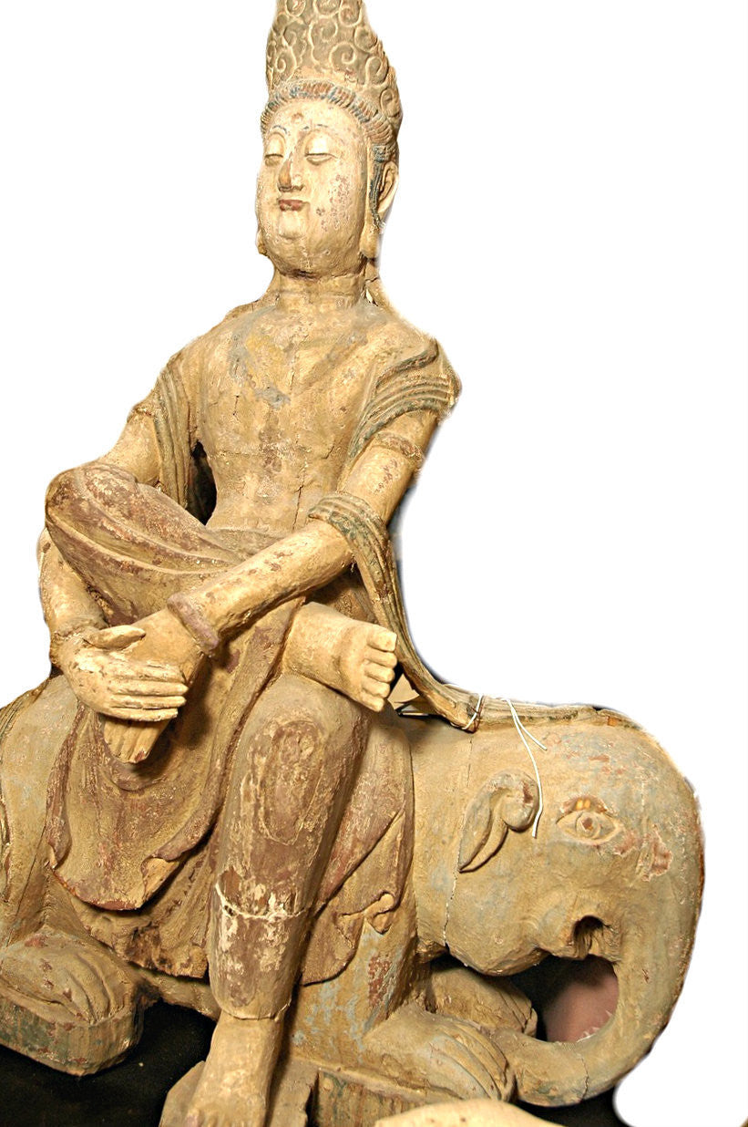 A Chinese Carved Wood Figure of Guanyin Riding an Elephant  Ming Dynasty (1368-1644)