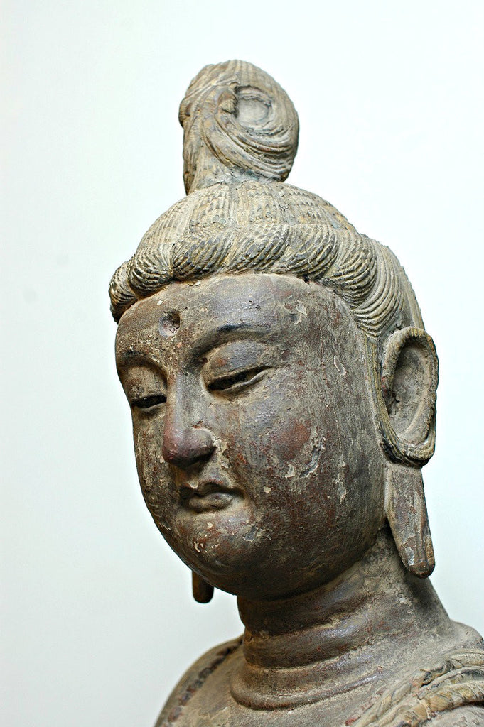 A Chinese Carved Wood Figure of a Standing Bodhisattva, Mid Ming Dynasty (circa 15th century)