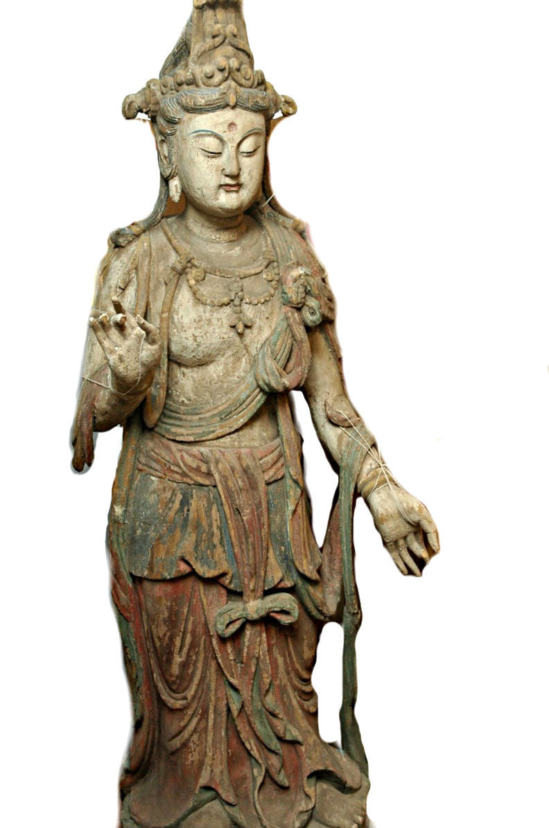 A Chinese Carved Wood Standing Figure of Guanyin,  Ming Dynasty (1368-1644)