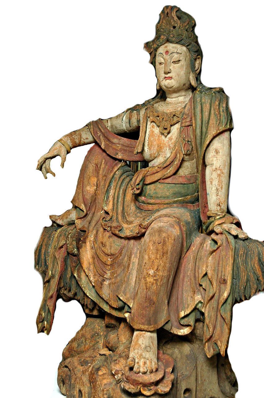 A Chinese Carved Wood Figure of Guanyin, Ming Dynasty (1368-1644)