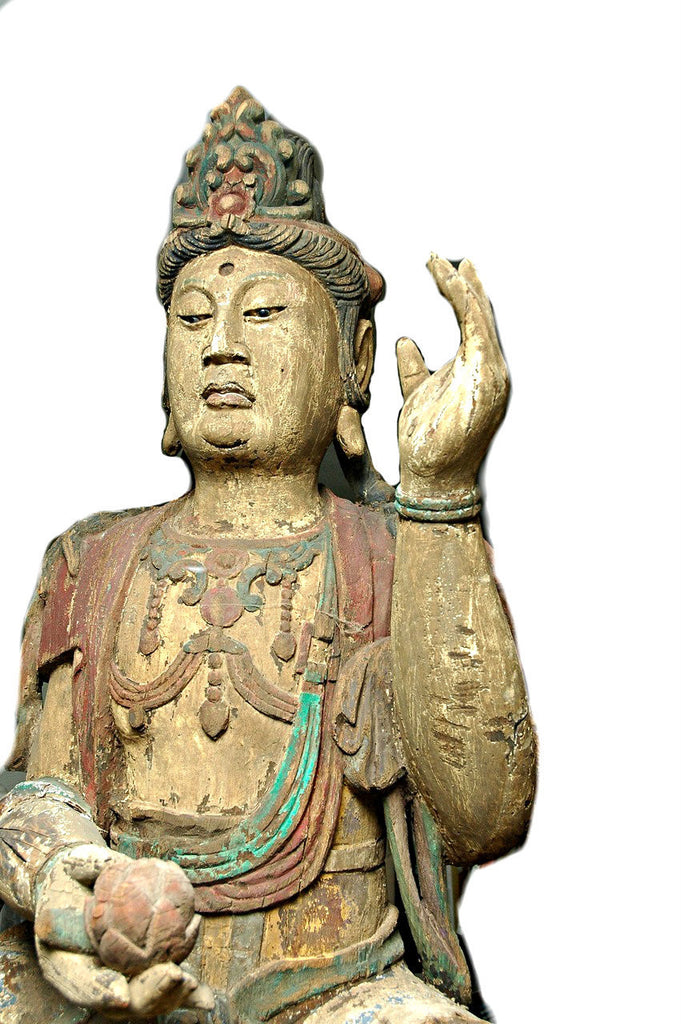 A Chinese Carved Wood Figure of Guanyin, Mid Ming Dynasty (15th century)