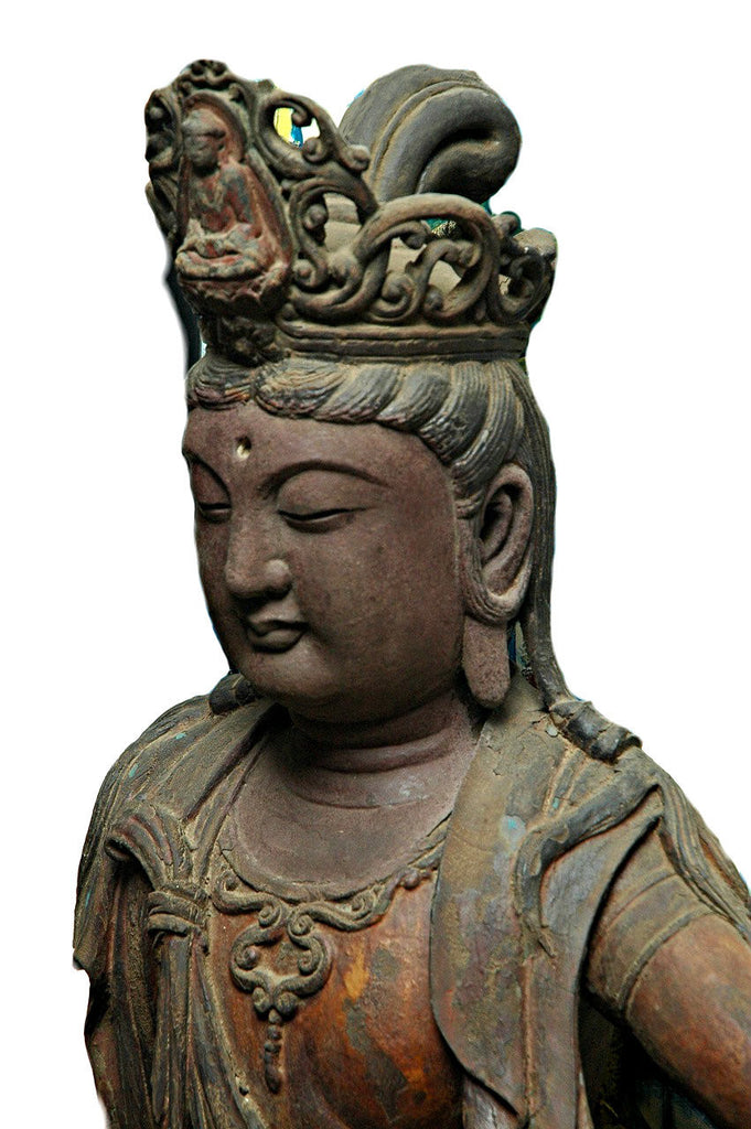 A Chinese Carved Wood Figure of Guanyin, Late Ming/Early Qing Dynasty