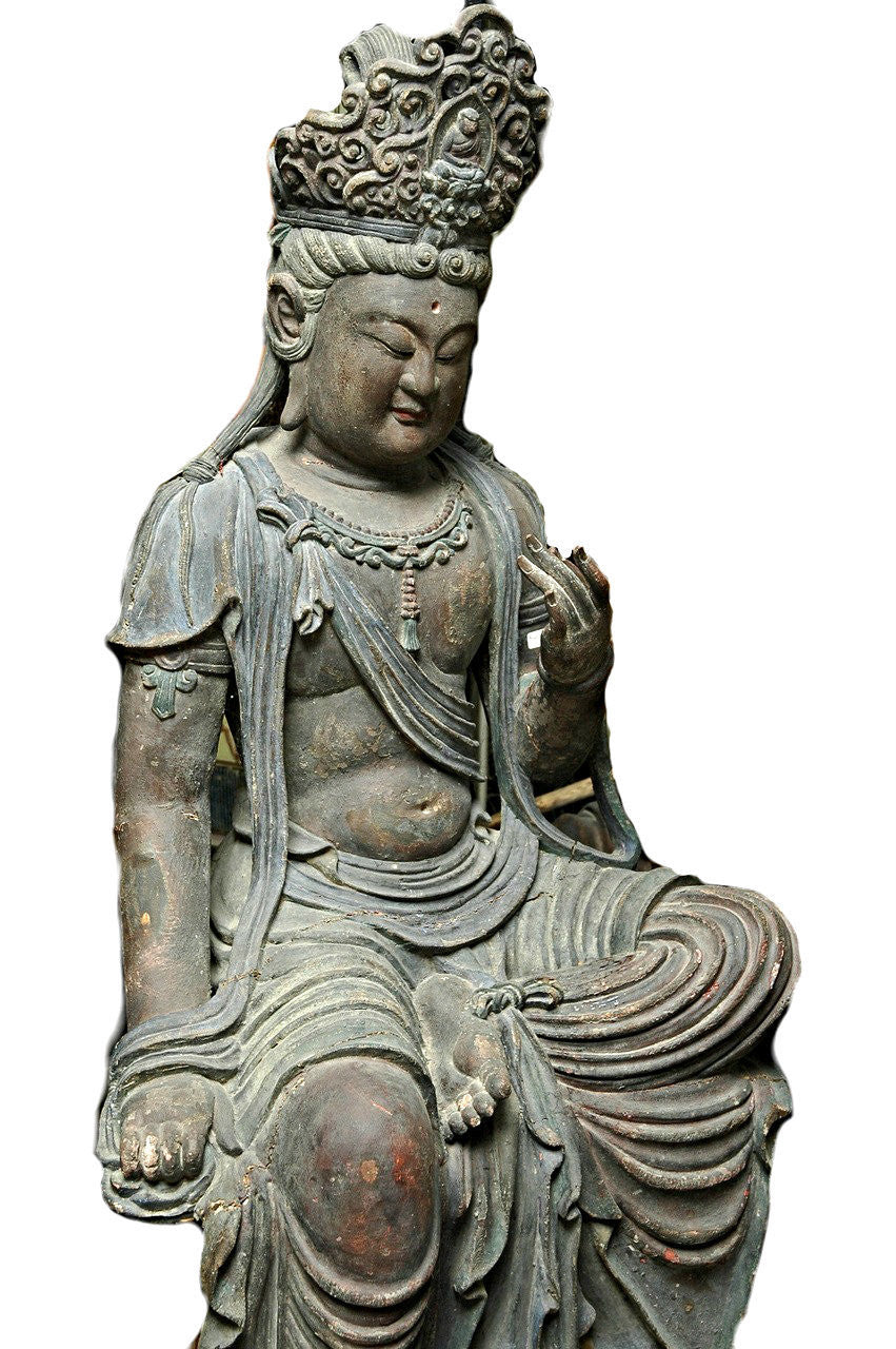 A Chinese Carved Wood Figure of Guanyin, Ming Period (1368-1644)  Hung Chih (1488-1505)