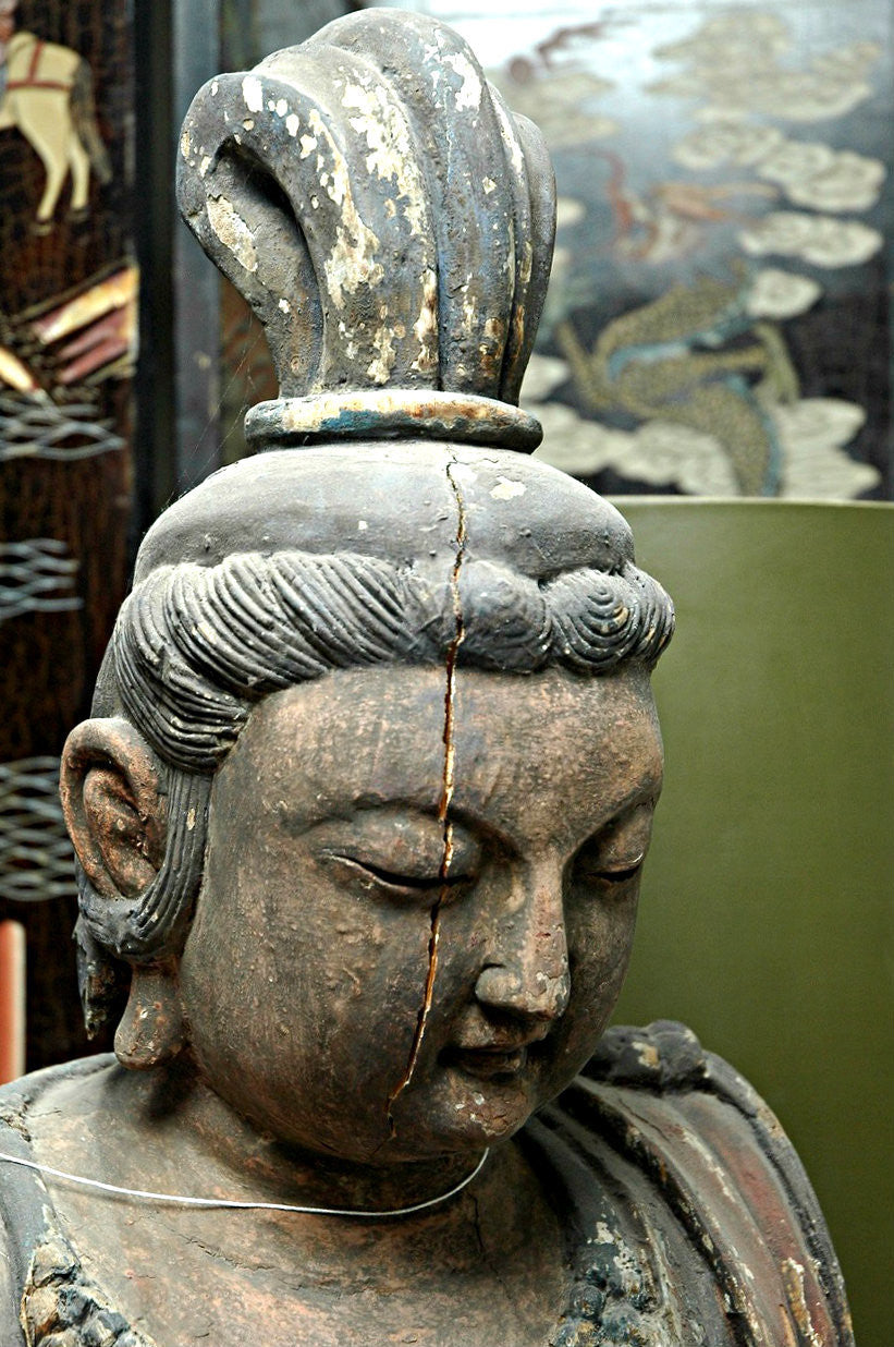 A Chinese Carved Wood Figure of Guanyin , Late Ming Dynasty