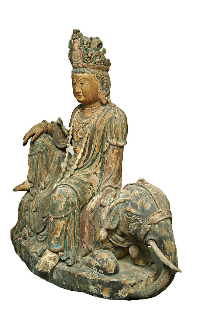A Chinese Carved Wood Figure of Guanyin Riding an Elephant , Late Ming Dynasty (1368-1644)