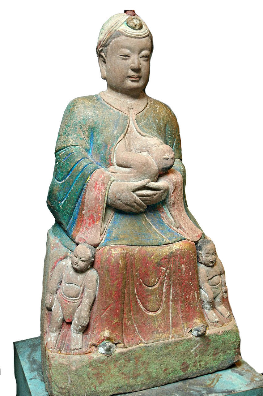 A Rare Chinese Painted and Carved Sandstone Figure of Guanyin,  Southern Song Dynasty (1127-1279)