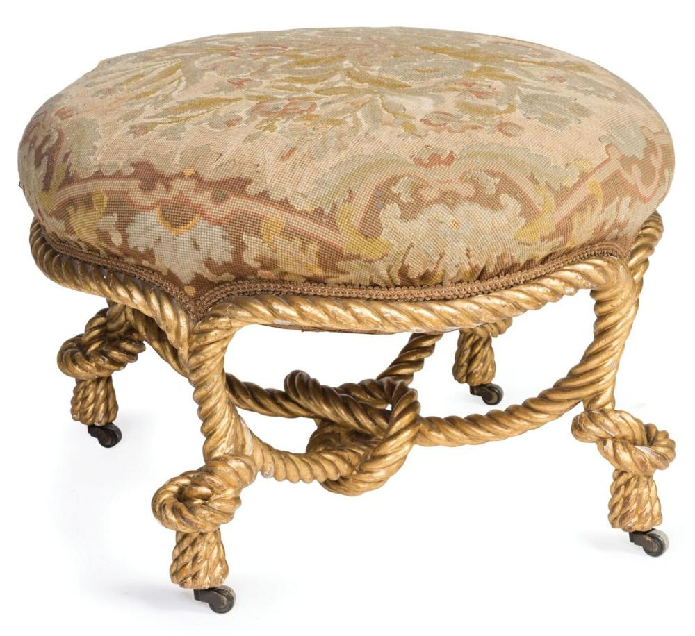 A Gilt Gesso Coiled Rope Stool