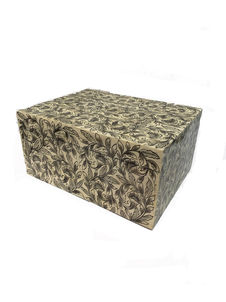 Bone Inlay Box with Foliated Scroll