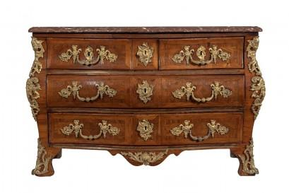 A Mid 18th Century Serpentine Fronted Tombeau Shaped Kingwood Commode