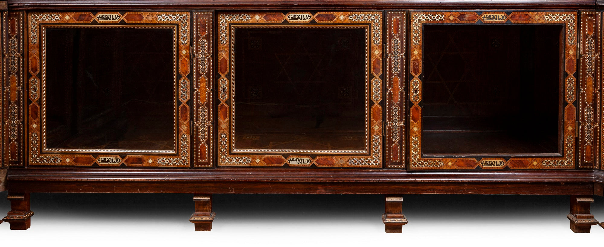 An Antique Moroccan Parquetry, Bone Inlaid and Glazed Display Cabinet