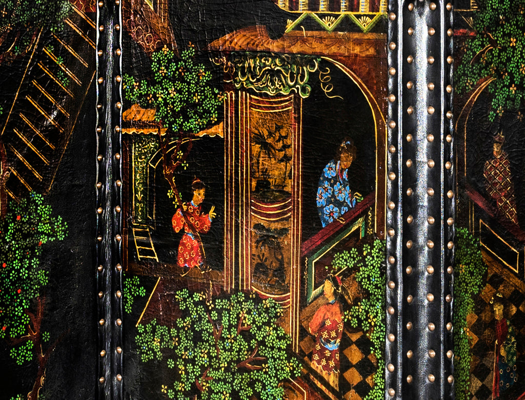 A 19th Century Southern Chinese Export Painted Leather Six Fold Screen