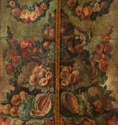 A Late 18th Century Italian Painted Leather Four Fold Screen