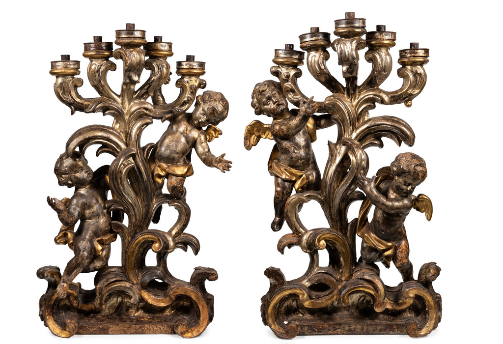 A Matched Pair of 18th Century Italian Silver Gilt Figurative Candelabra