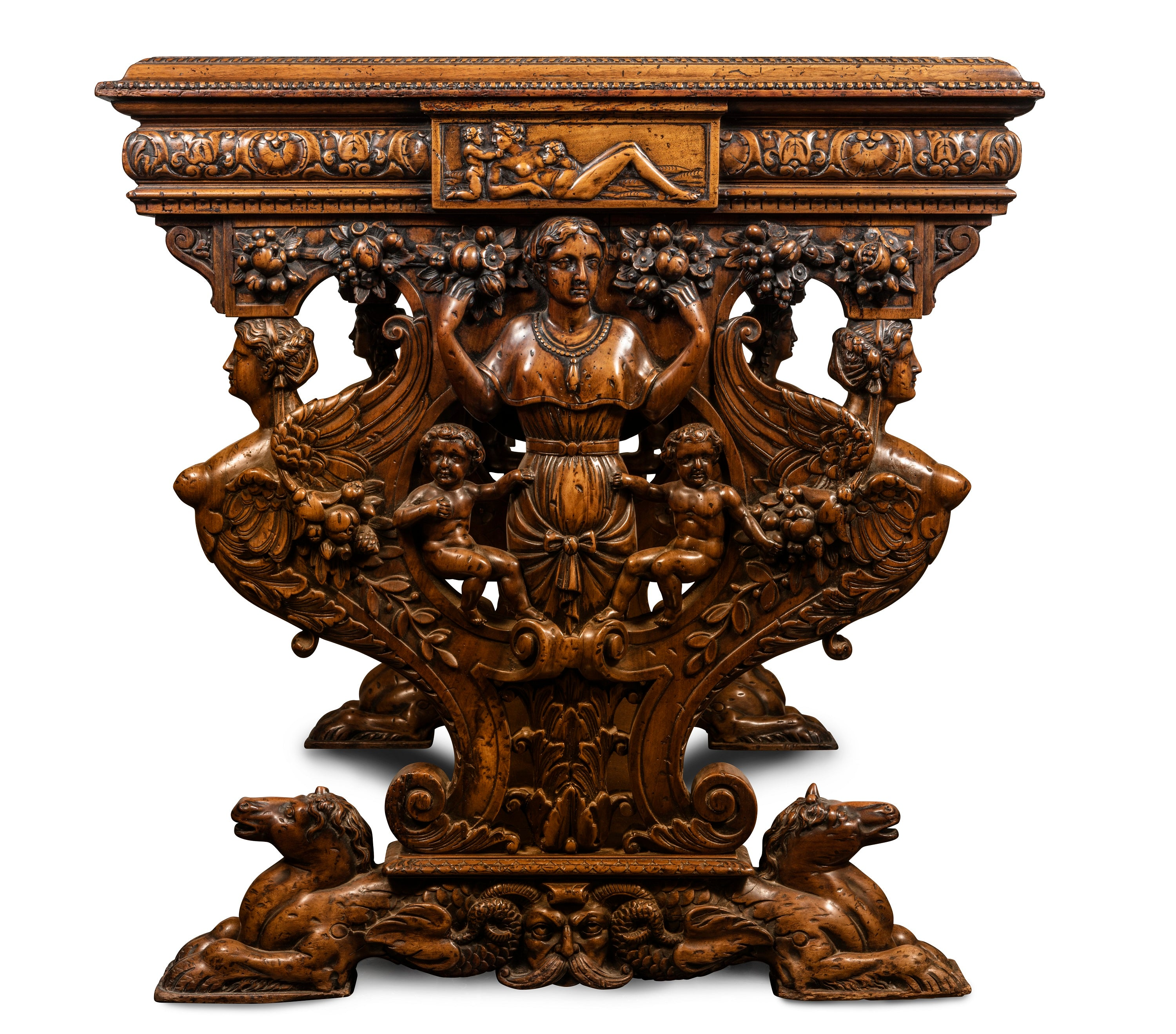 A Superbly Carved Late 18th – Early 19th Century Italian Walnut Centre Table