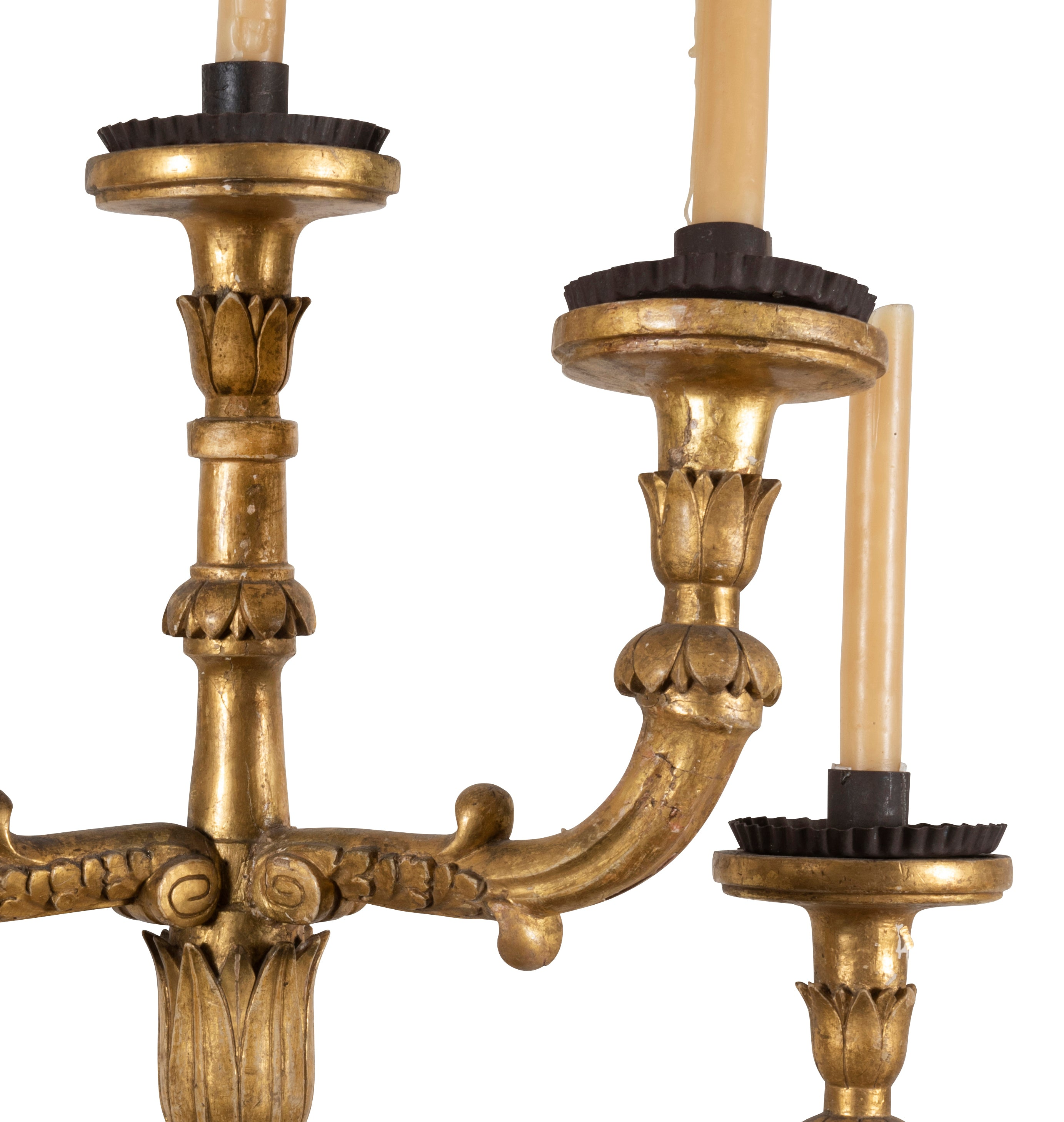 A Pair of 17th Century Spanish Carlos II Carved Giltwood Wall Sconces