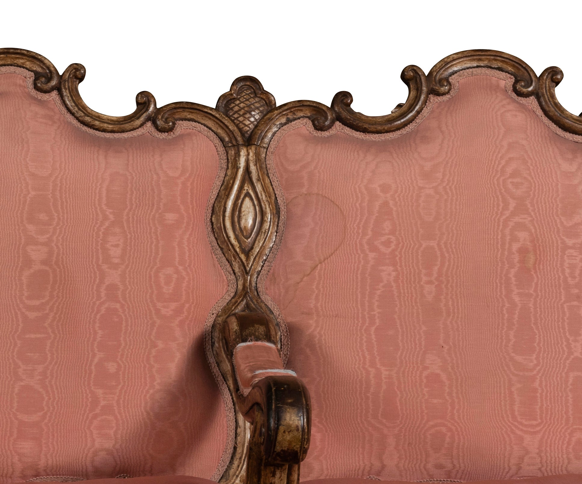 A 17th Century  Italian Walnut Three Seat Divano Upholstered in Pink Silk