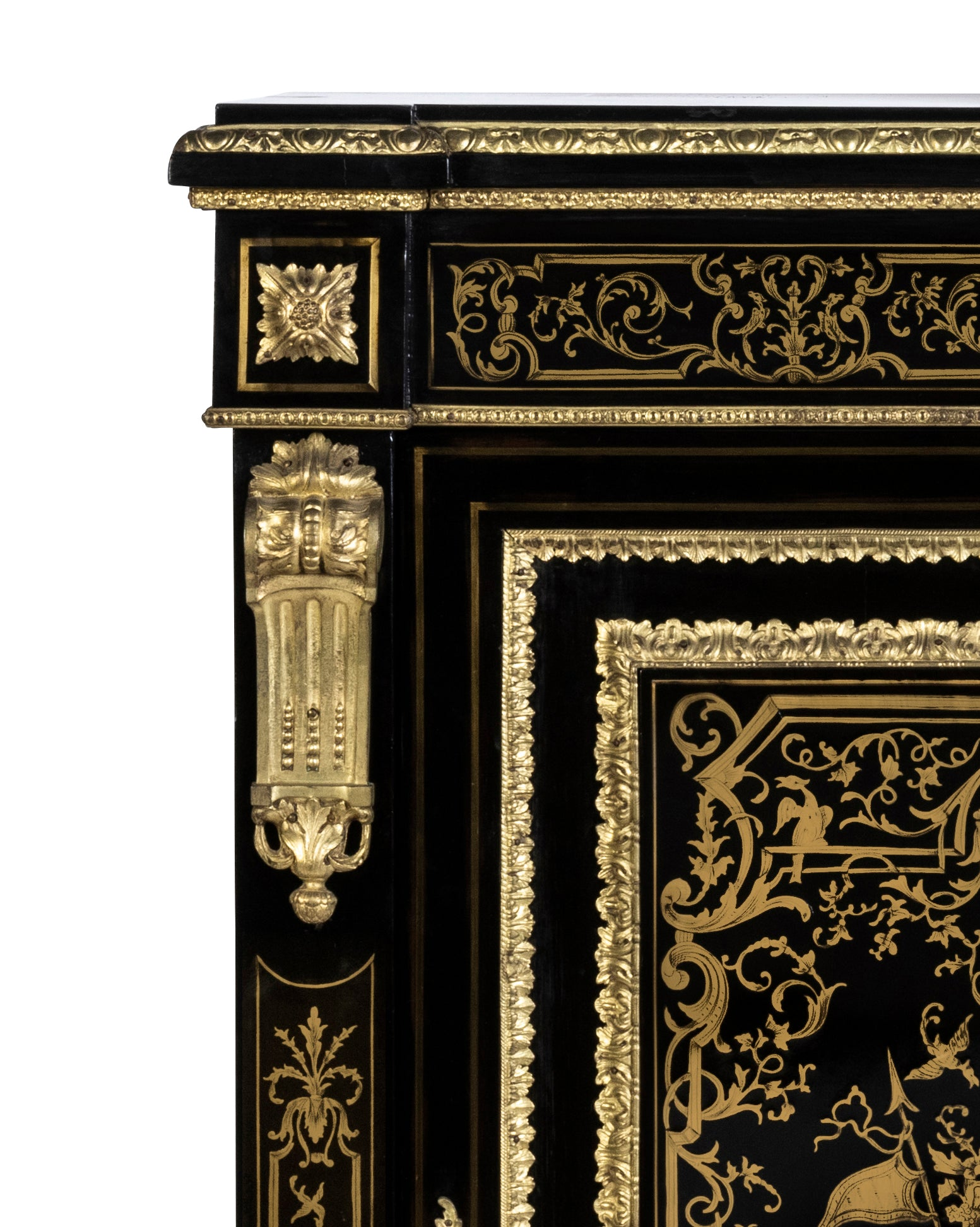 A 19th Century French Fine Cast Brass Inlaid Boulle Cabinet