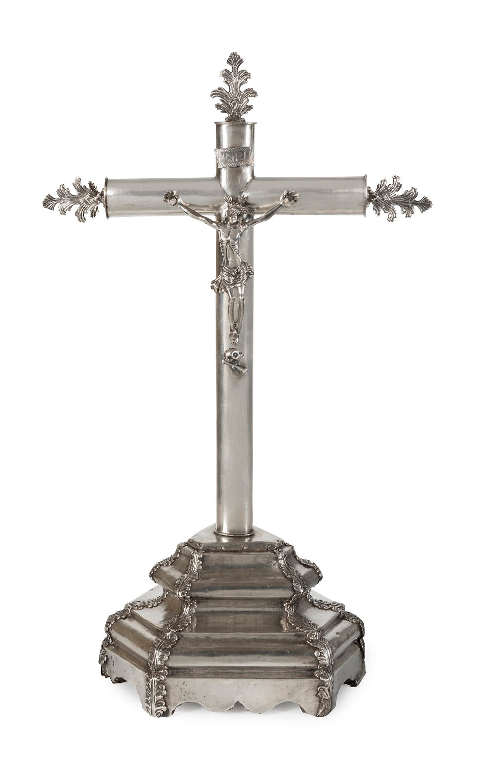 A 19th Century Spanish Silver-Plated Alter Crucifix