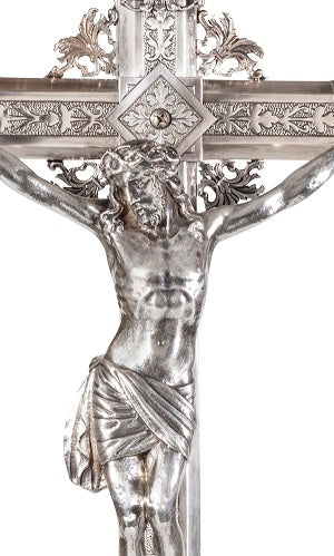 Spanish 19th Century Silver Plated Crucifix