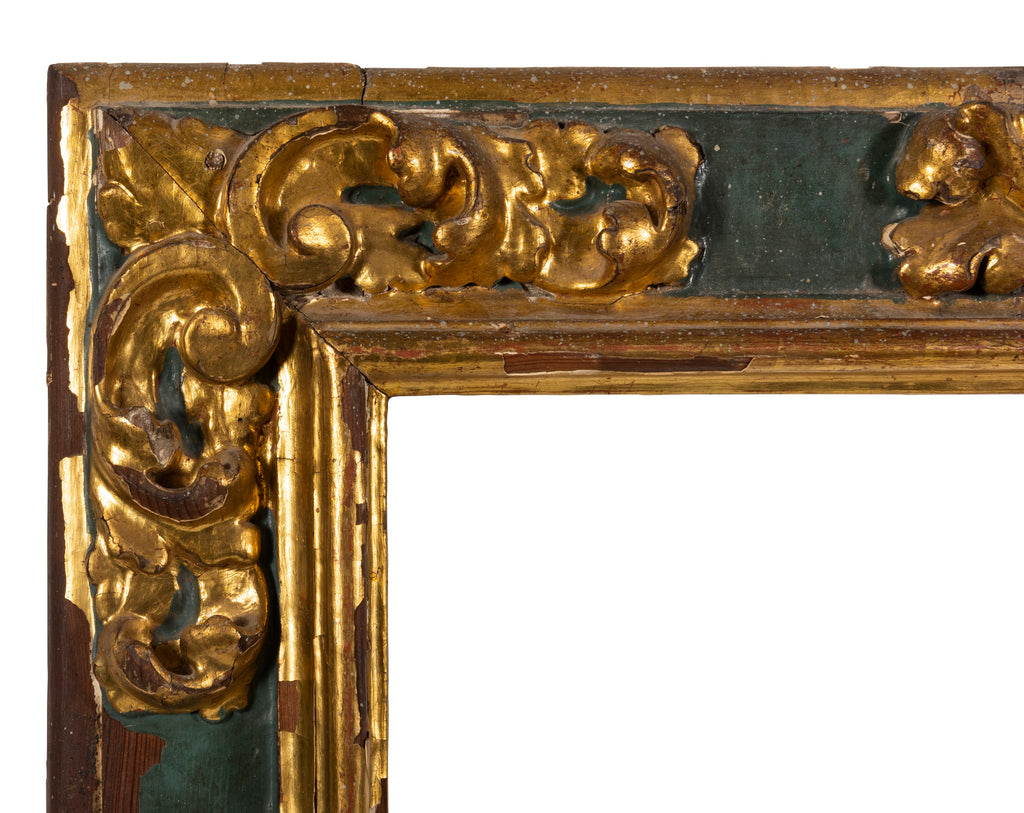 Late 17th-Early 18th Century Spanish Gilt and Polychrome Frame