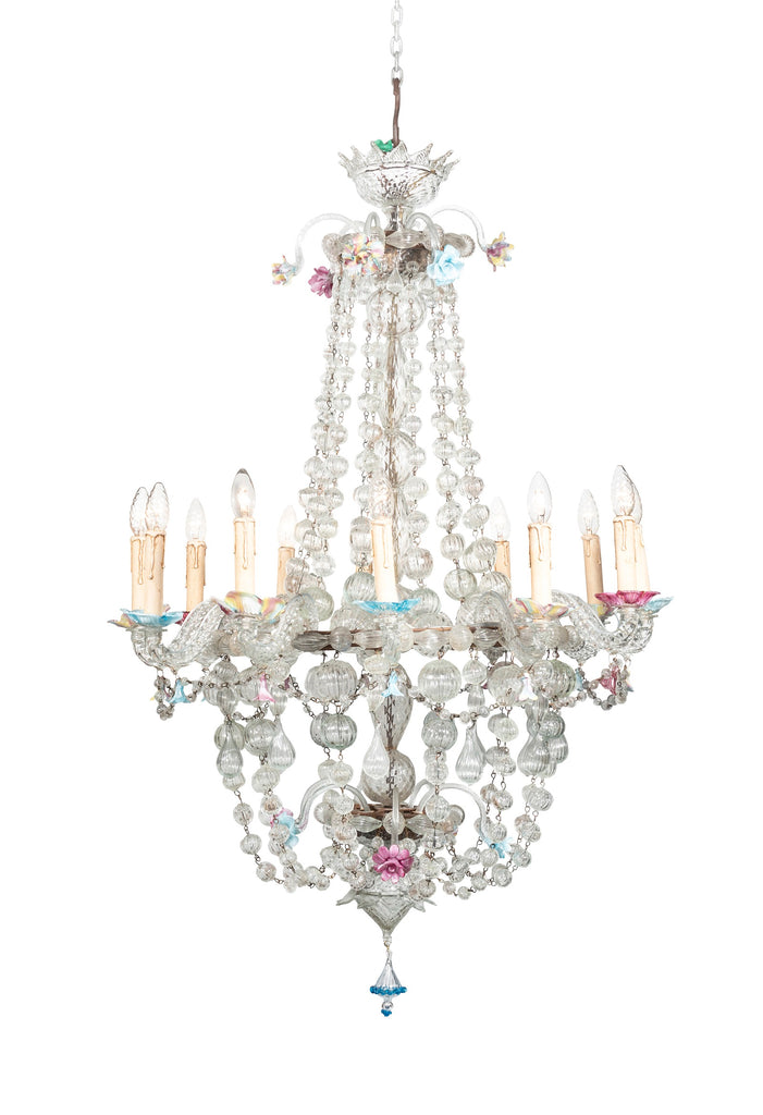 A 19th Century Murano Glass Twelve Light Basket Chandelier