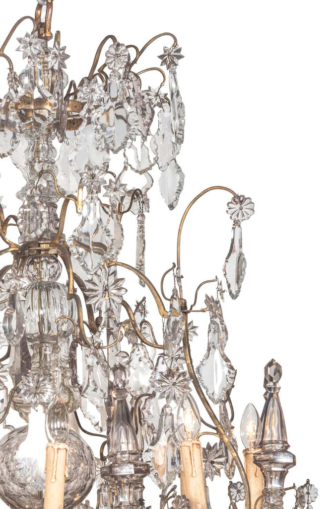 A 19th Century French Louis XV Style Crystal and Gilt Twenty-Light Chandelier