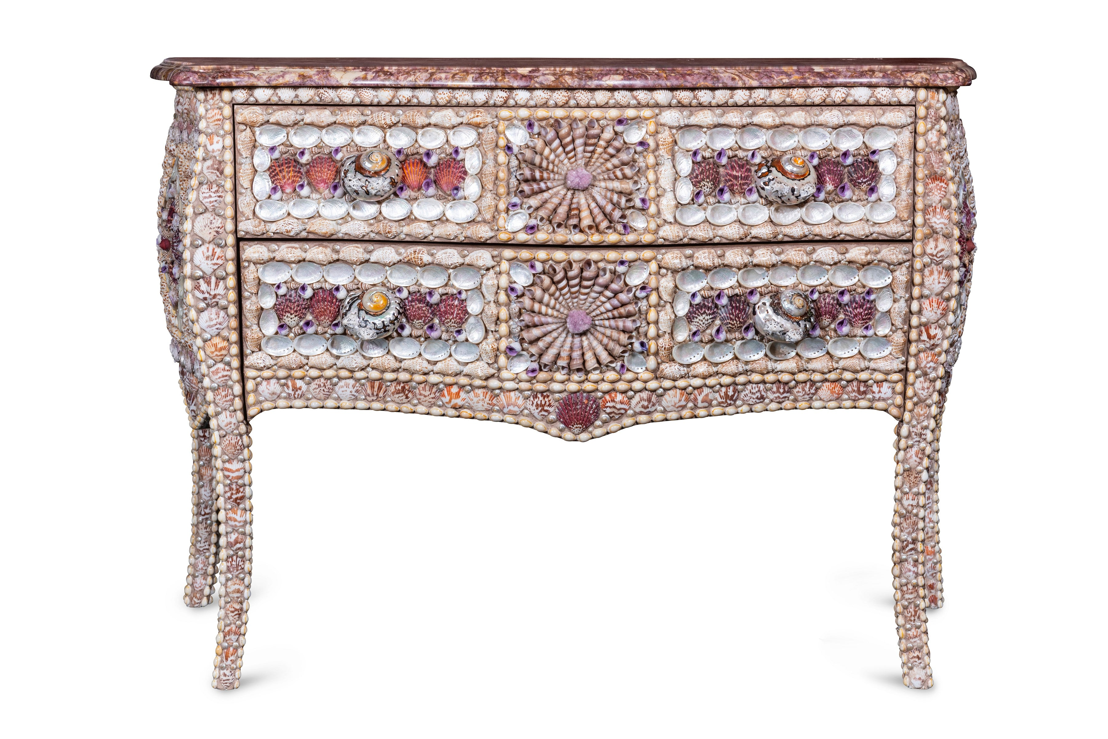 French Shell Inlaid Serpentine Fronted Bombe Commode in the Louis XV Style