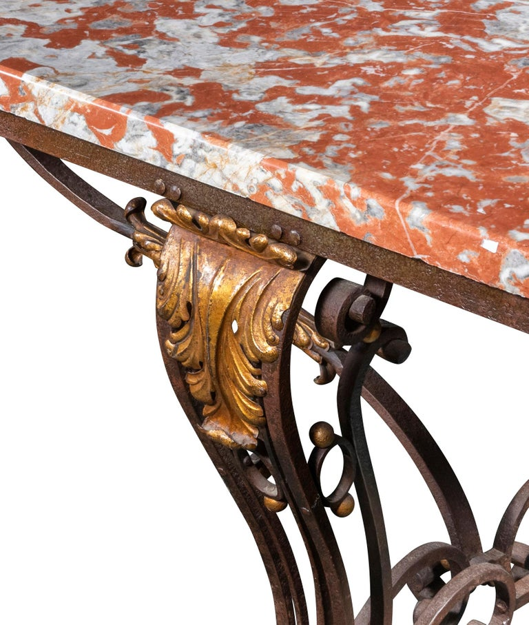 An Early 20th Century French Orange Marble-Top Table on Wrought Iron Base