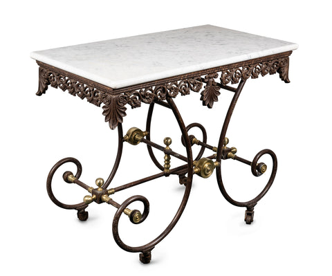 French 19th Century Wrought Iron and Brass Butchers Table