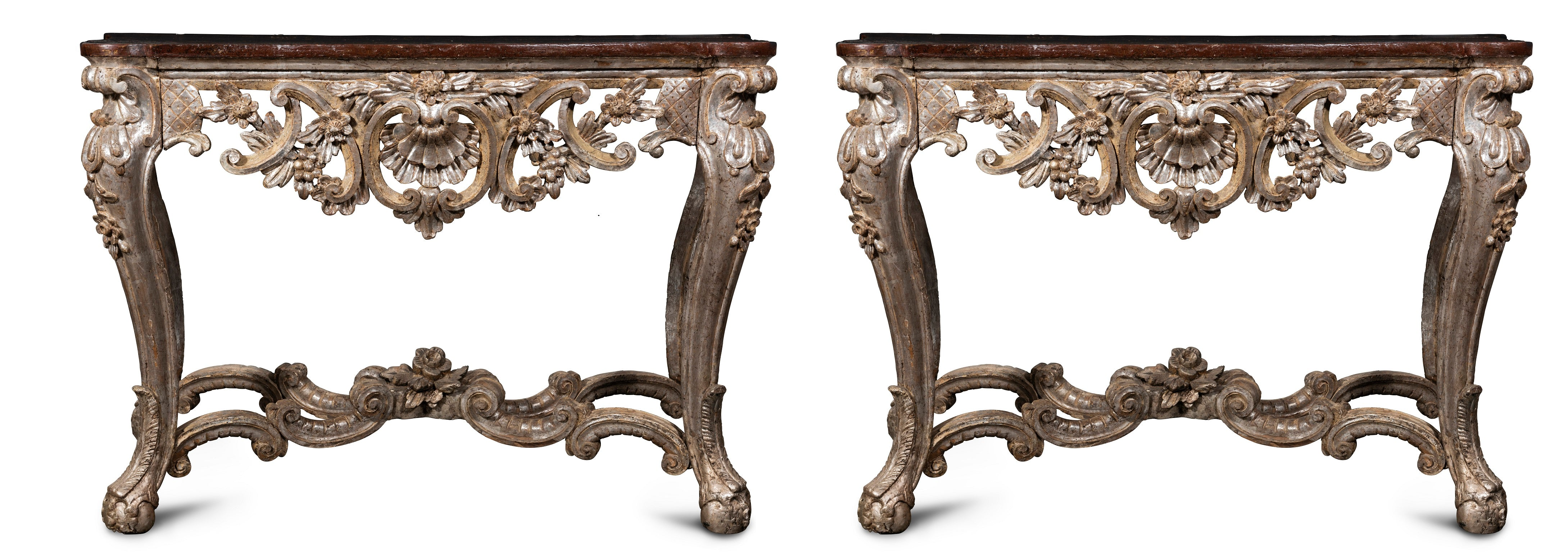 Pair of Late 18th Century Italian Ecclesiastical Silver-Gilt Consoles