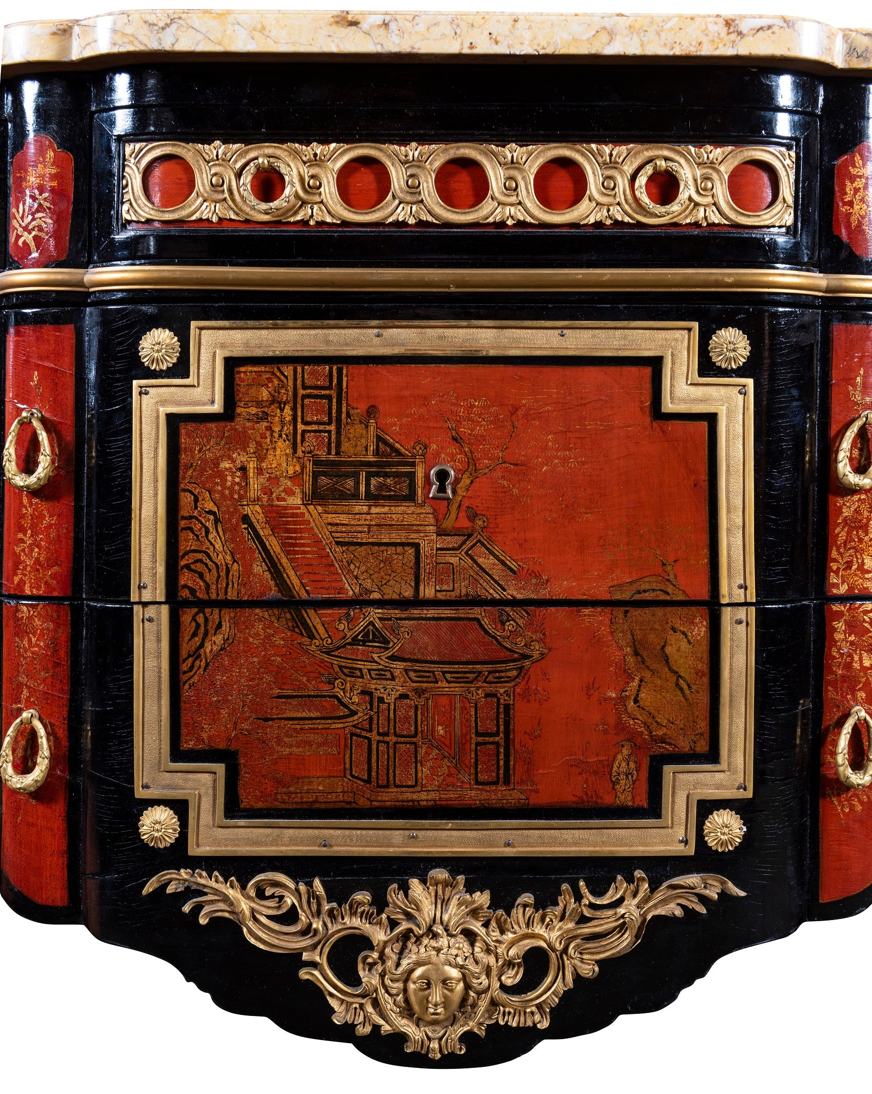 French 1940s Transitional Style Red & Black Chinoiserie Commode