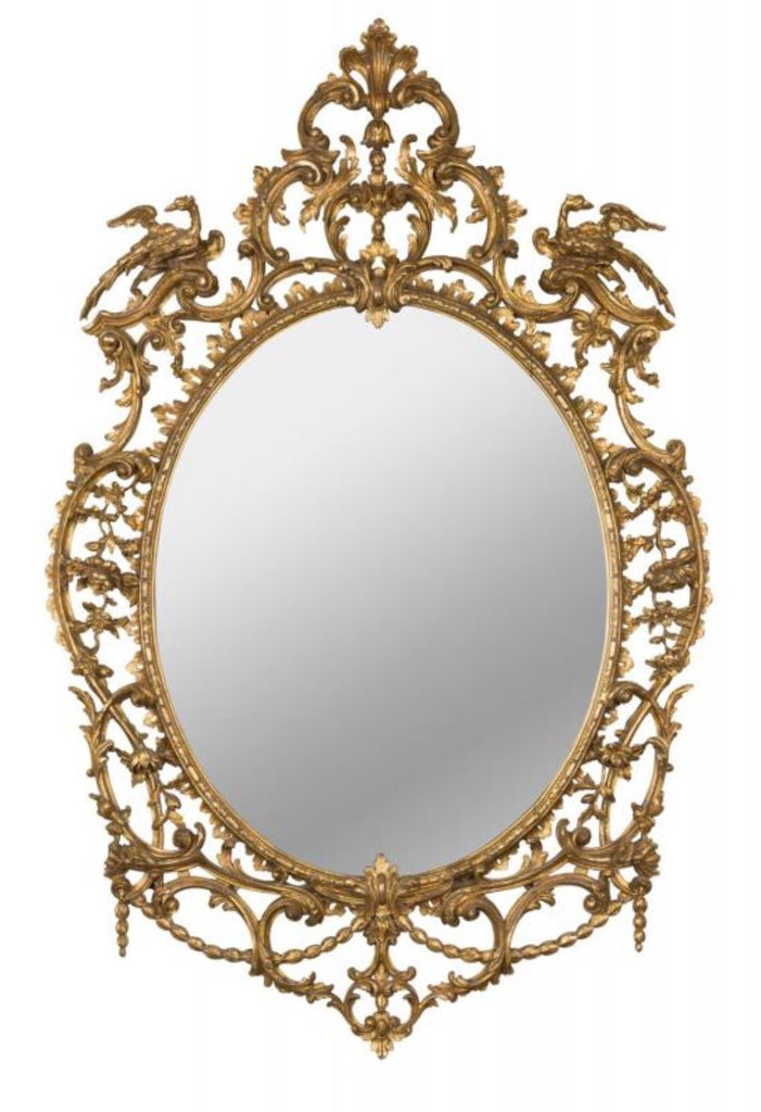 An Oval Giltwood Salon Mirror