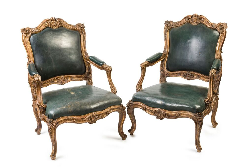 Late 18th Century Pair of Italian Louis XV Style Fauteuils