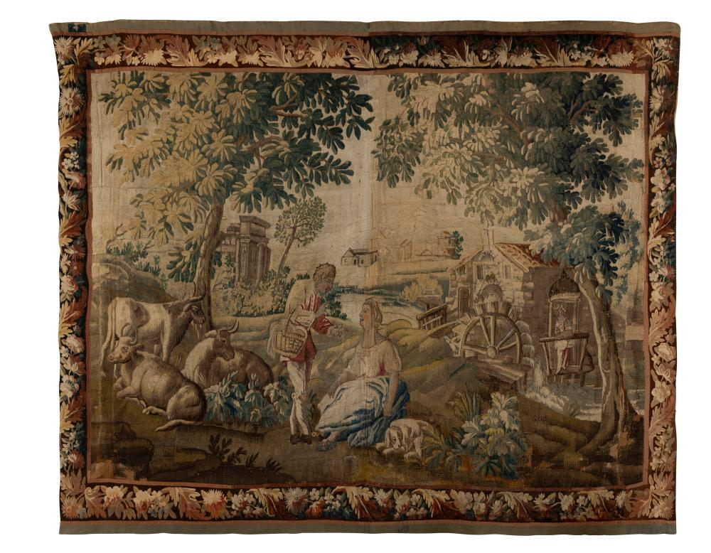 An Aubusson pastoral scene tapestry